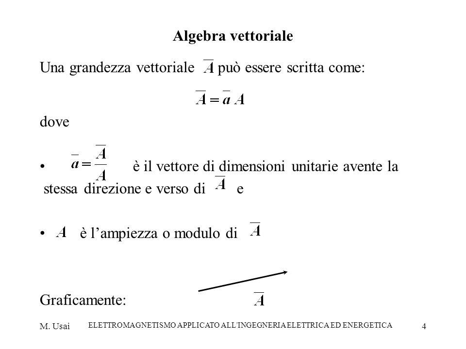 M. Usai ELETTROMAGNETISMO APPLICATO ALL'INGEGNERIA ELETTRICA ED ENERGETICA 4 Algebra vettoriale Una grandezza vettoriale può essere scritta come: dove