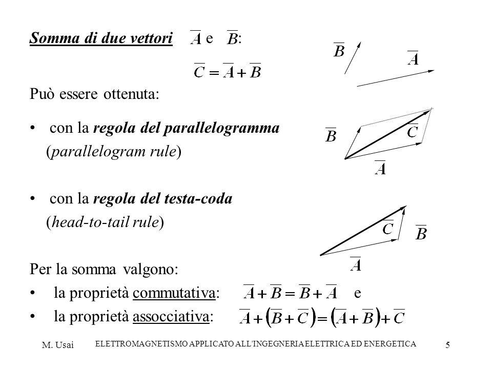 M. Usai ELETTROMAGNETISMO APPLICATO ALL'INGEGNERIA ELETTRICA ED ENERGETICA 5 Somma di due vettori e : Può essere ottenuta: con la regola del parallelo