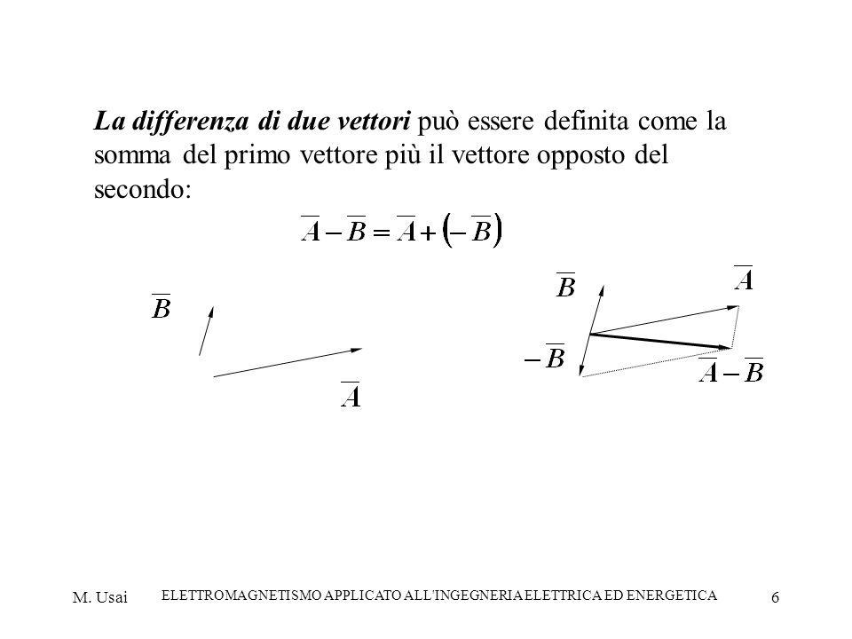 M. Usai ELETTROMAGNETISMO APPLICATO ALL'INGEGNERIA ELETTRICA ED ENERGETICA 6 La differenza di due vettori può essere definita come la somma del primo