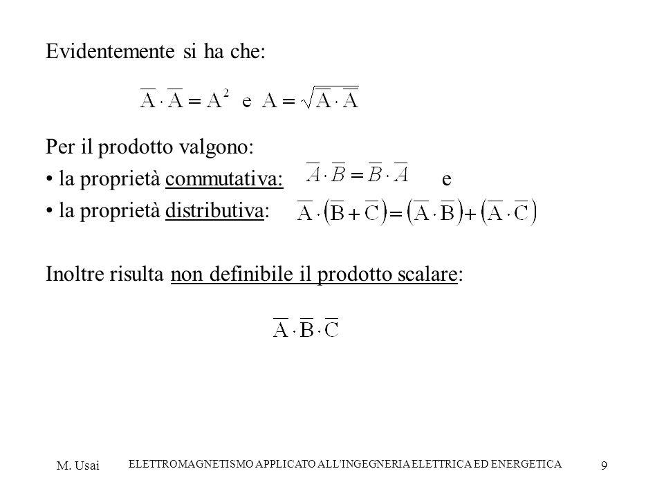 M. Usai ELETTROMAGNETISMO APPLICATO ALL'INGEGNERIA ELETTRICA ED ENERGETICA 9 Evidentemente si ha che: Per il prodotto valgono: la proprietà commutativ