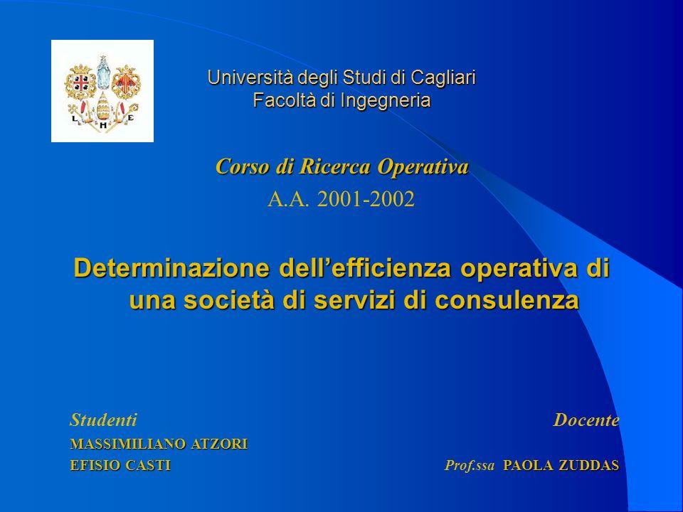 Università degli Studi di Cagliari Facoltà di Ingegneria Corso di Ricerca Operativa A.A. 2001-2002 Determinazione dellefficienza operativa di una soci