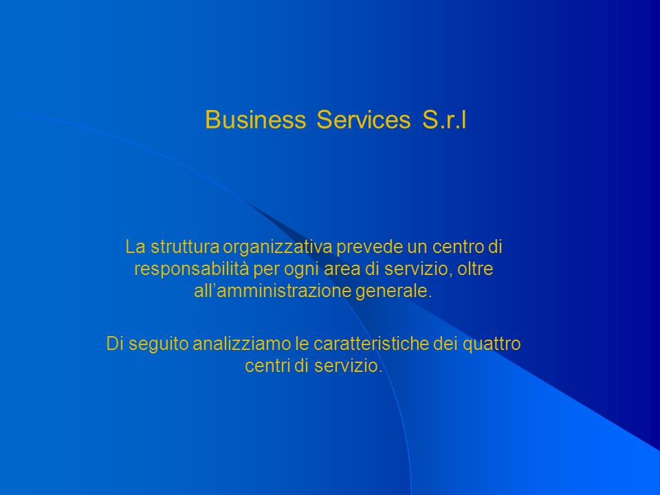 Business Services S.r.l La struttura organizzativa prevede un centro di responsabilità per ogni area di servizio, oltre allamministrazione generale. D