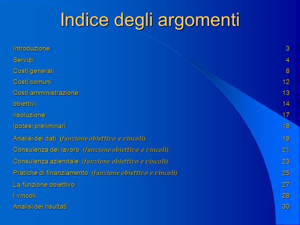 Indice degli argomenti Introduzione3 Servizi4 Costi generali 8 Costi comuni 12 Costi amministrazione 13 obiettivi14 risoluzione17 Ipotesi preliminari