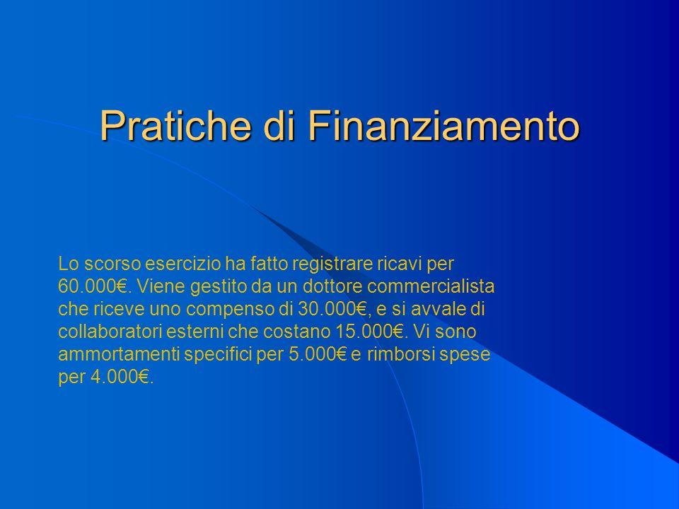 Pratiche di Finanziamento Lo scorso esercizio ha fatto registrare ricavi per 60.000. Viene gestito da un dottore commercialista che riceve uno compens