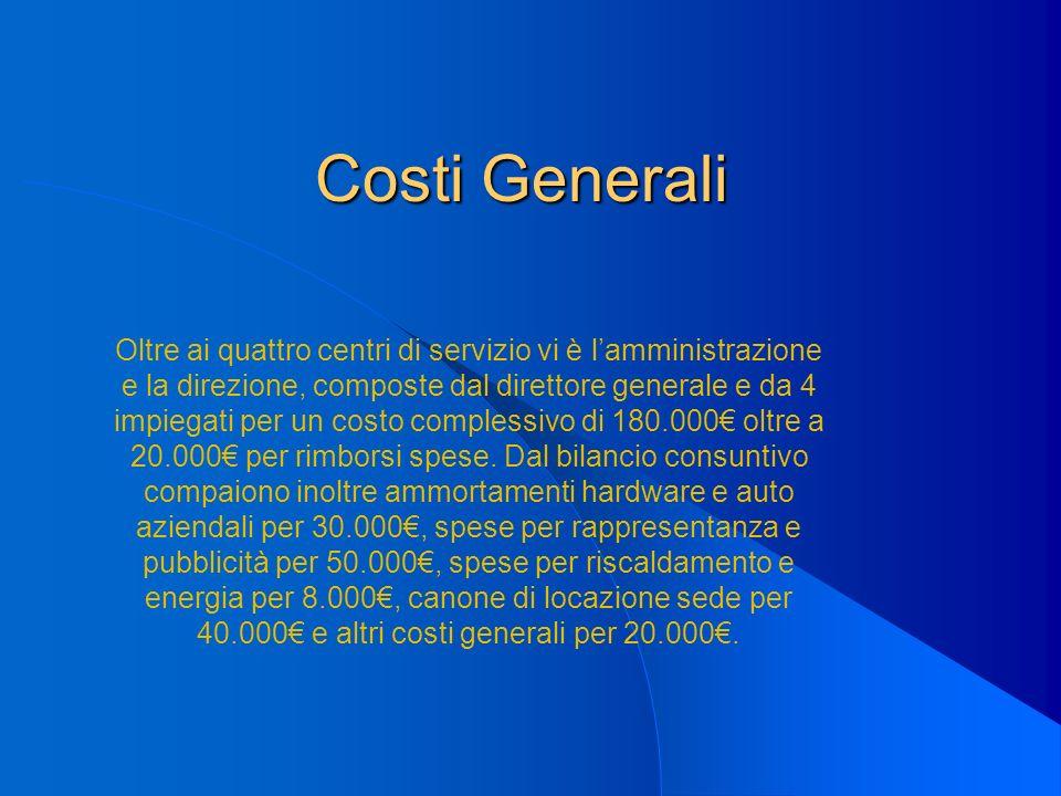 Costi Generali Oltre ai quattro centri di servizio vi è lamministrazione e la direzione, composte dal direttore generale e da 4 impiegati per un costo