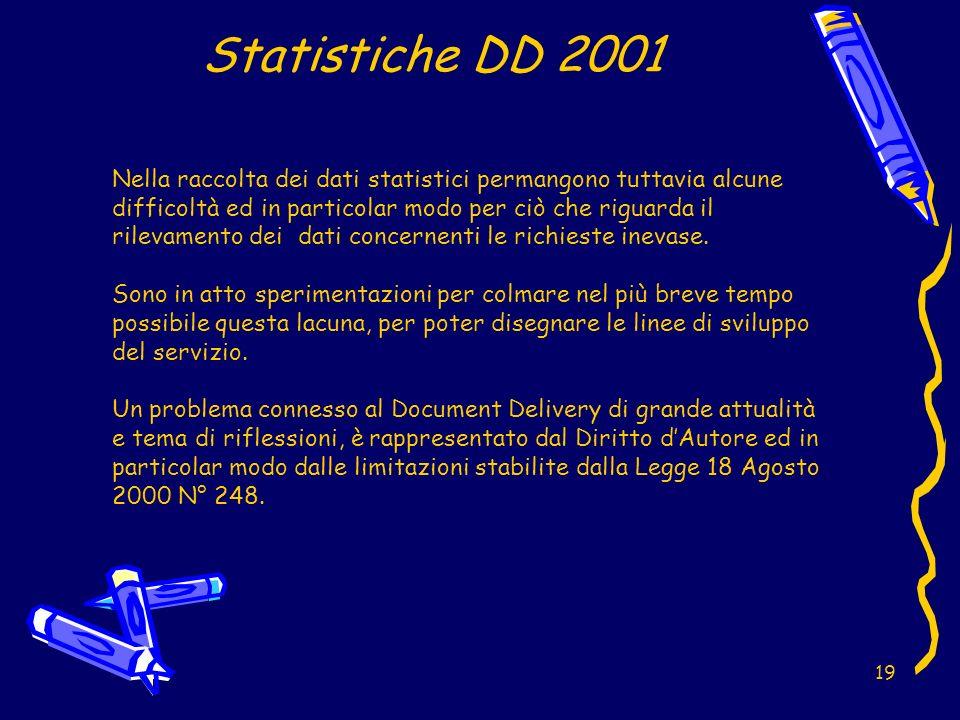 19 Statistiche DD 2001 Nella raccolta dei dati statistici permangono tuttavia alcune difficoltà ed in particolar modo per ciò che riguarda il rilevamento dei dati concernenti le richieste inevase.