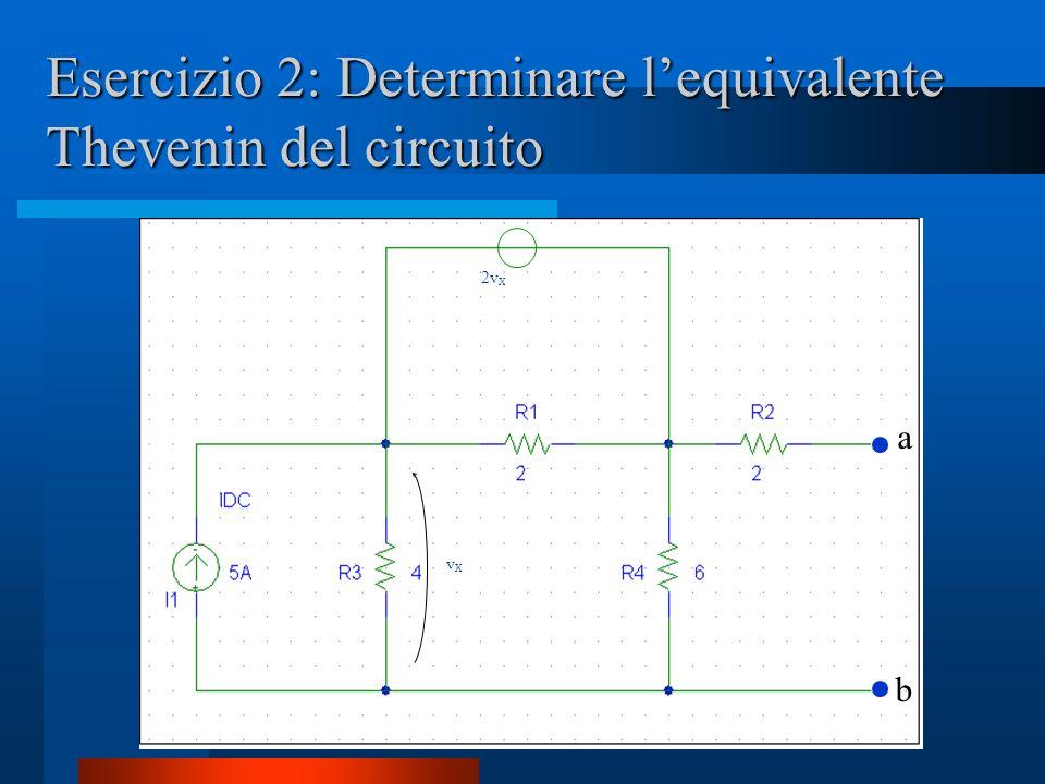 Esercizio 2: Determinare lequivalente Thevenin del circuito vXvX 2v X a b