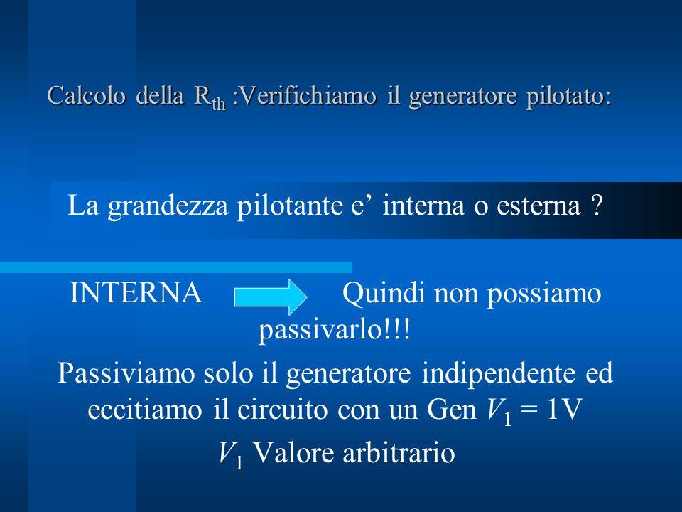 Calcolo della R th :Verifichiamo il generatore pilotato: La grandezza pilotante e interna o esterna .