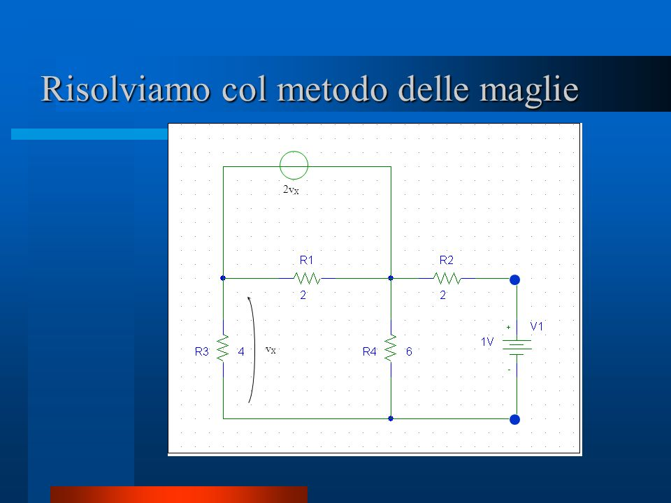Risolviamo col metodo delle maglie i0i0 vXvX 2v X