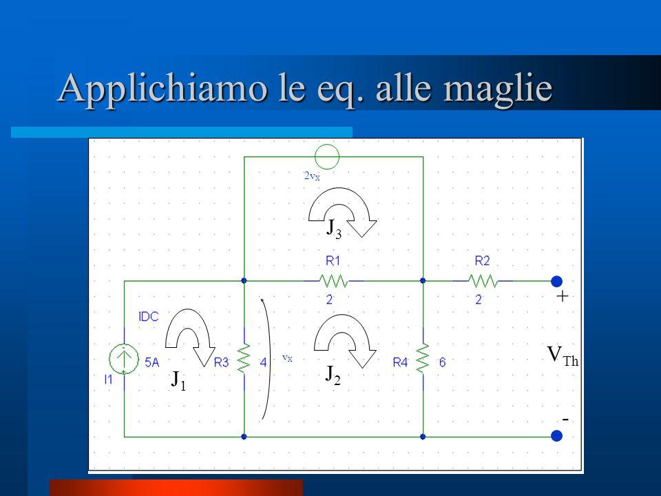 Applichiamo le eq. alle maglie vXvX 2v X + - V Th J1J1 J2J2 J3J3