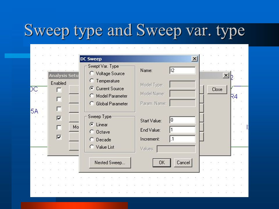 Sweep type and Sweep var. type