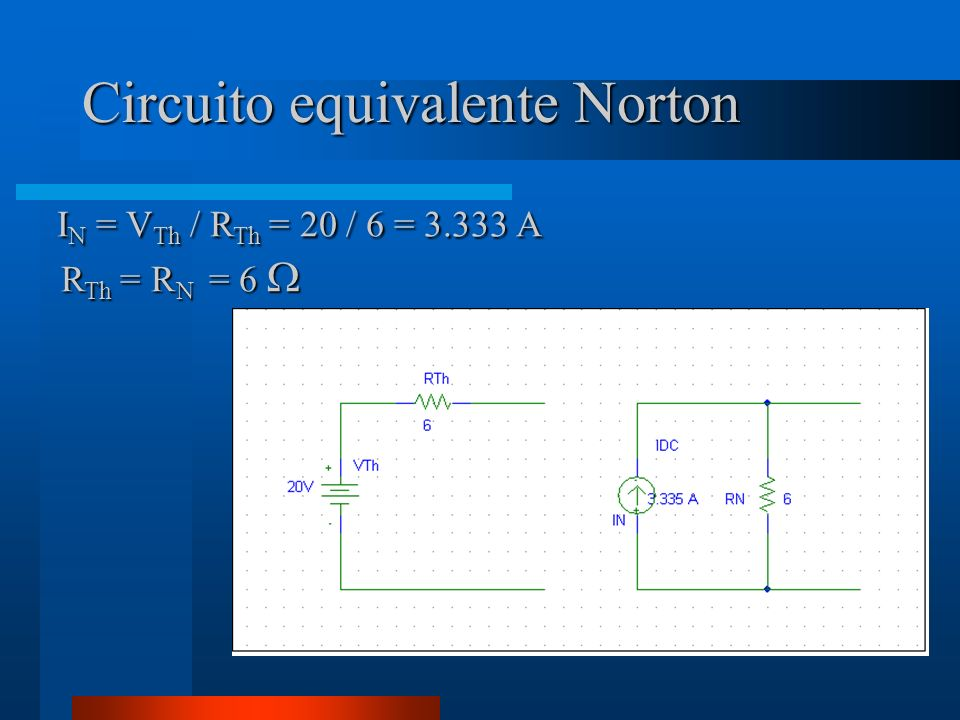 Circuito equivalente Norton I N = V Th / R Th = 20 / 6 = 3.333 A I N = V Th / R Th = 20 / 6 = 3.333 A R Th = R N = 6 R Th = R N = 6
