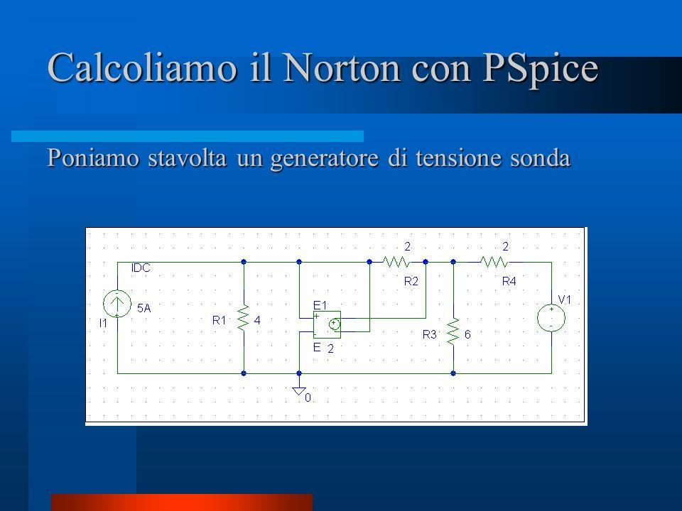 Calcoliamo il Norton con PSpice Poniamo stavolta un generatore di tensione sonda