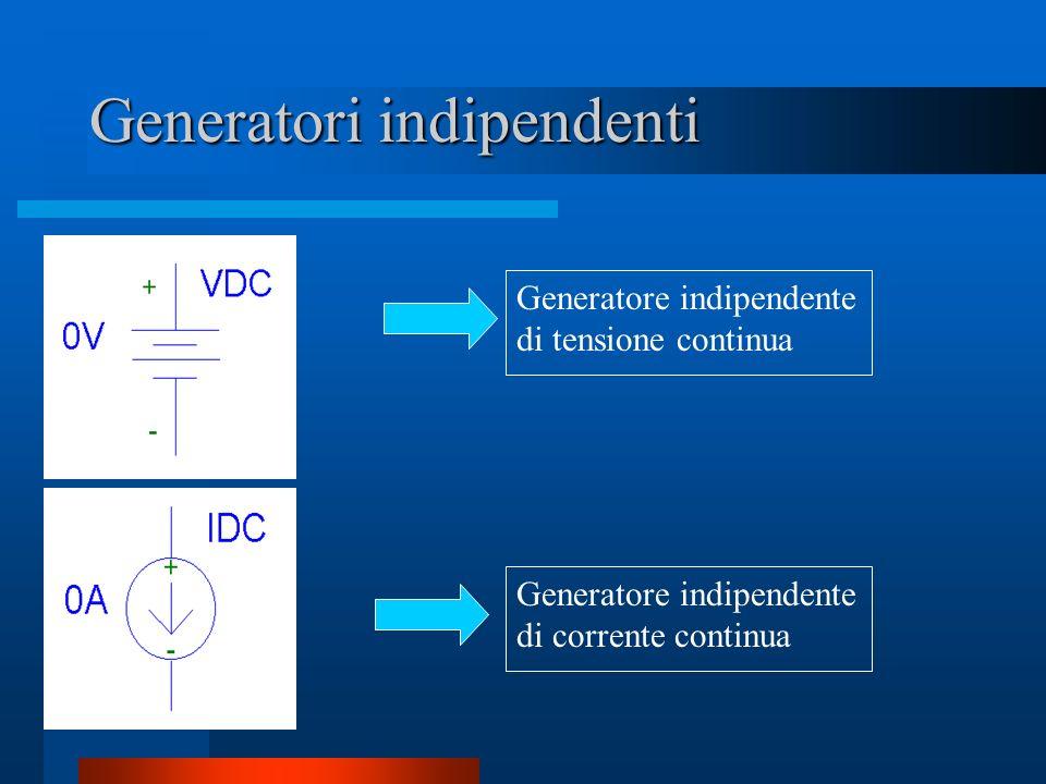 Generatori indipendenti Generatore indipendente di tensione continua Generatore indipendente di corrente continua