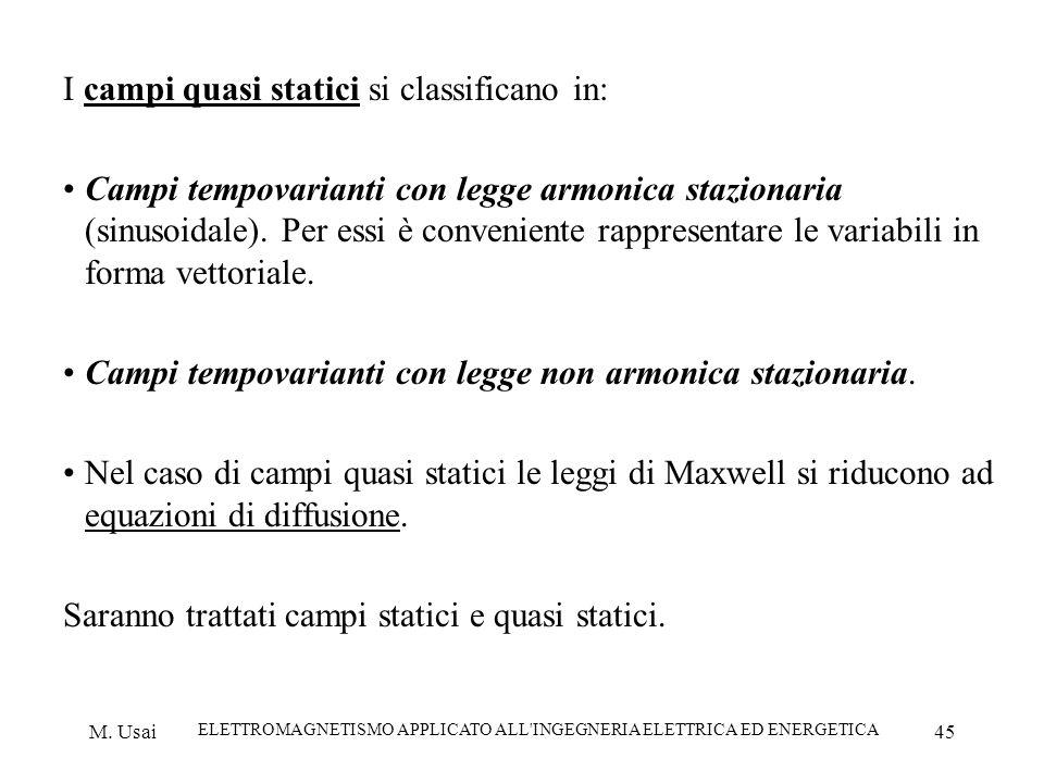 M. Usai ELETTROMAGNETISMO APPLICATO ALL'INGEGNERIA ELETTRICA ED ENERGETICA 45 I campi quasi statici si classificano in: Campi tempovarianti con legge