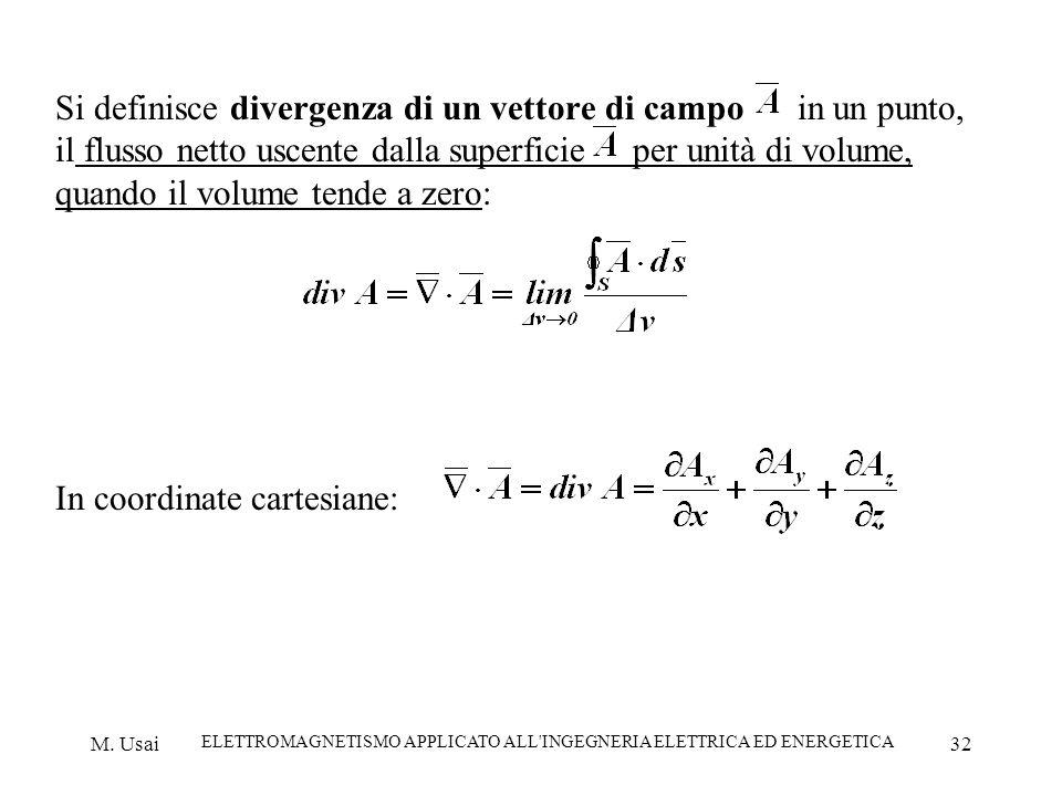 M. Usai ELETTROMAGNETISMO APPLICATO ALL'INGEGNERIA ELETTRICA ED ENERGETICA 32 Si definisce divergenza di un vettore di campo in un punto, il flusso ne