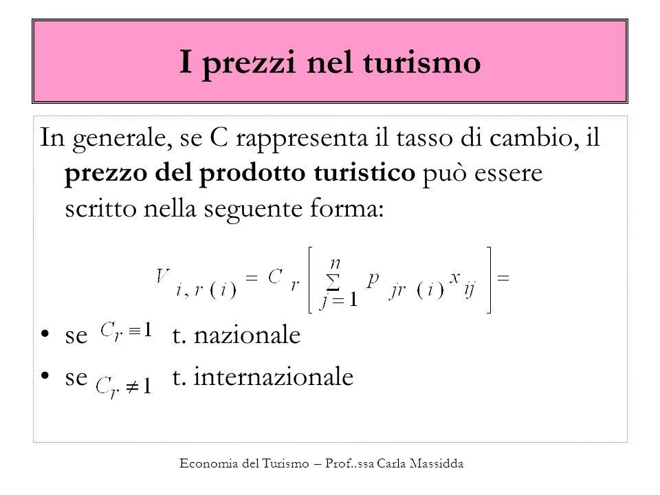 Economia del Turismo – Prof..ssa Carla Massidda I prezzi nel turismo In generale, se C rappresenta il tasso di cambio, il prezzo del prodotto turistico può essere scritto nella seguente forma: se t.