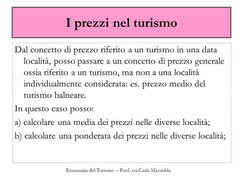Economia del Turismo – Prof..ssa Carla Massidda I prezzi nel turismo Dal concetto di prezzo riferito a un turismo in una data località, posso passare a un concetto di prezzo generale ossia riferito a un turismo, ma non a una località individualmente considerata: es.