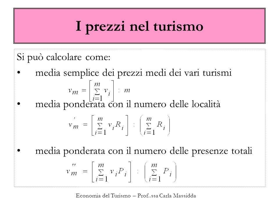 Economia del Turismo – Prof..ssa Carla Massidda I prezzi nel turismo Si può calcolare come: media semplice dei prezzi medi dei vari turismi media ponderata con il numero delle località media ponderata con il numero delle presenze totali