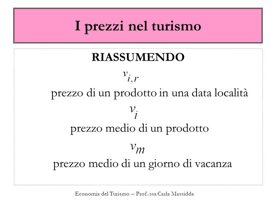 Economia del Turismo – Prof..ssa Carla Massidda I prezzi nel turismo RIASSUMENDO prezzo di un prodotto in una data località prezzo medio di un prodotto prezzo medio di un giorno di vacanza