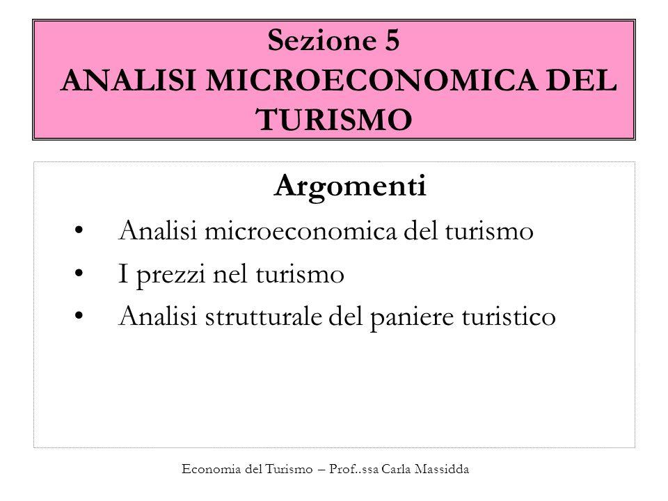 Economia del Turismo – Prof..ssa Carla Massidda Analisi strutturale del paniere turistico dove = distanza minima A = i due beni sono strettamente complementari superato A, entro 364, ogni combinazione è possibile.