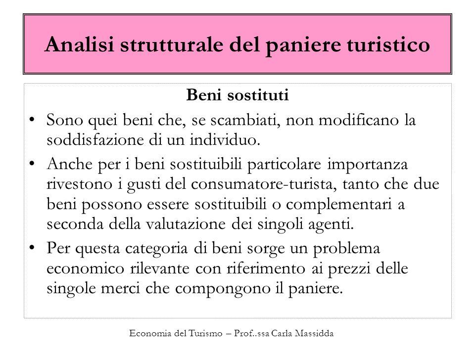 Economia del Turismo – Prof..ssa Carla Massidda Analisi strutturale del paniere turistico Beni sostituti Sono quei beni che, se scambiati, non modificano la soddisfazione di un individuo.