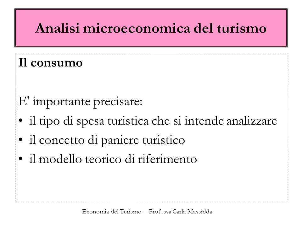 Economia del Turismo – Prof..ssa Carla Massidda I prezzi nel turismo Il concetto di prezzo può essere ulteriormente generalizzato.