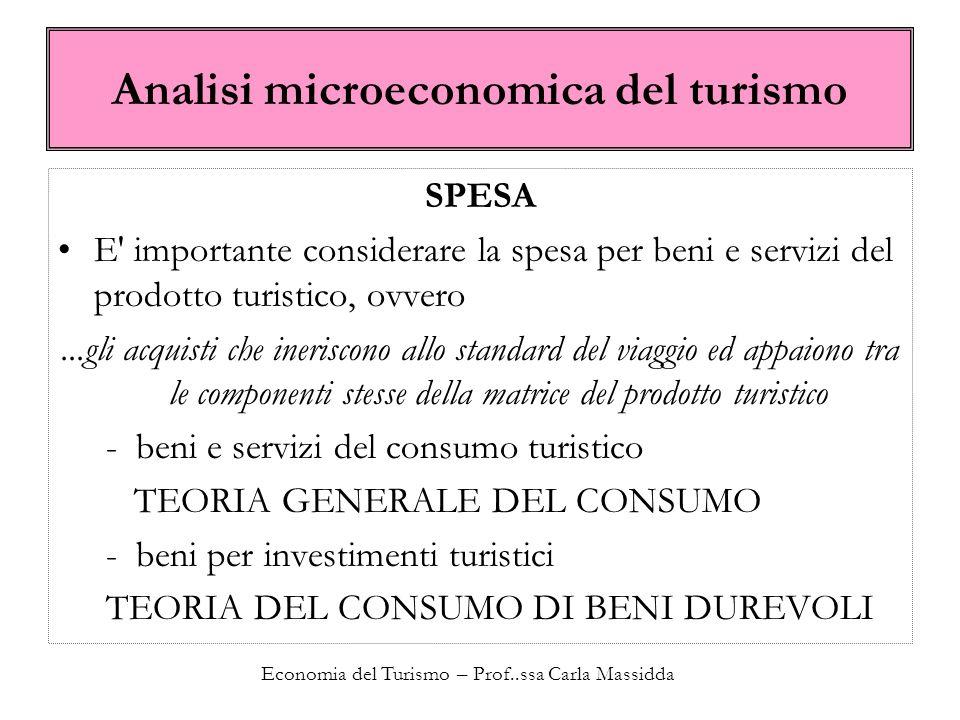 Economia del Turismo – Prof..ssa Carla Massidda Analisi microeconomica del turismo Il paniere turistico Si fa riferimento alla matrice del prodotto che abbiamo visto scritta nella seguente forma: oppure