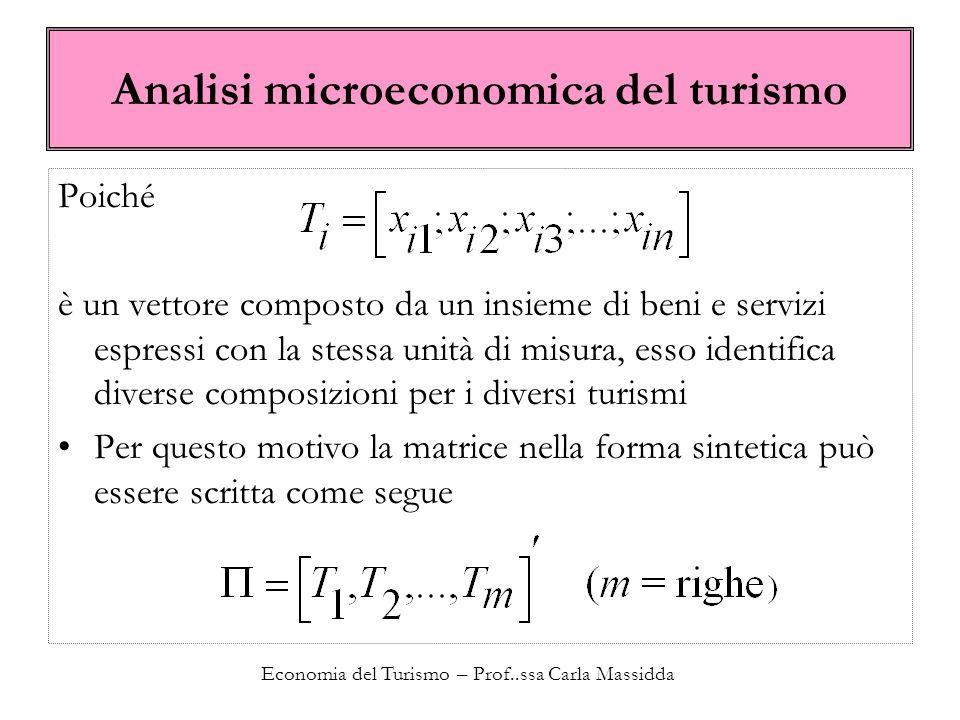 Economia del Turismo – Prof..ssa Carla Massidda Analisi strutturale del paniere turistico Chiediamoci: che relazione esiste tra le merci che compongo uno stesso paniere.