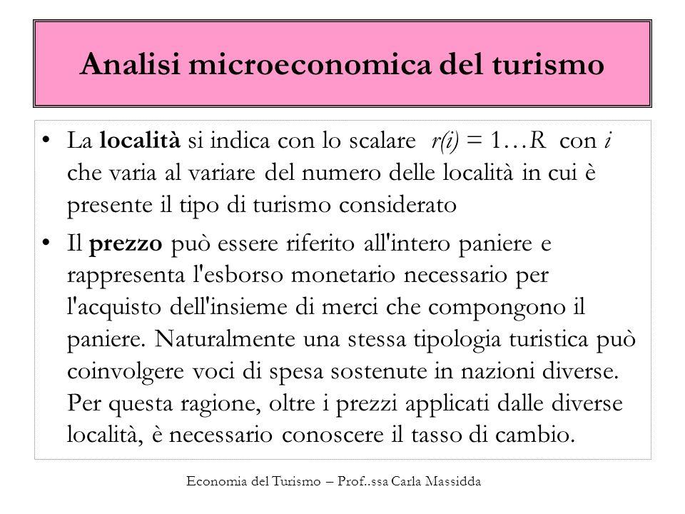 Economia del Turismo – Prof..ssa Carla Massidda I prezzi nel turismo Se rappresenta il vettore dei prezzi, il prezzo del paniere del prodotto turistico è dato dalla somma dei prezzi dei singoli elementi che compongono 1 giorno di vacanza moltiplicati per le rispettive quantità.
