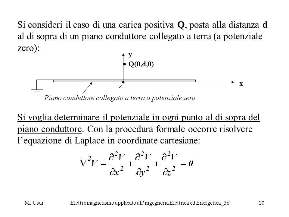 M. UsaiElettromagnetismo applicato allingegneria Elettrica ed Energetica_3d10 Si consideri il caso di una carica positiva Q, posta alla distanza d al