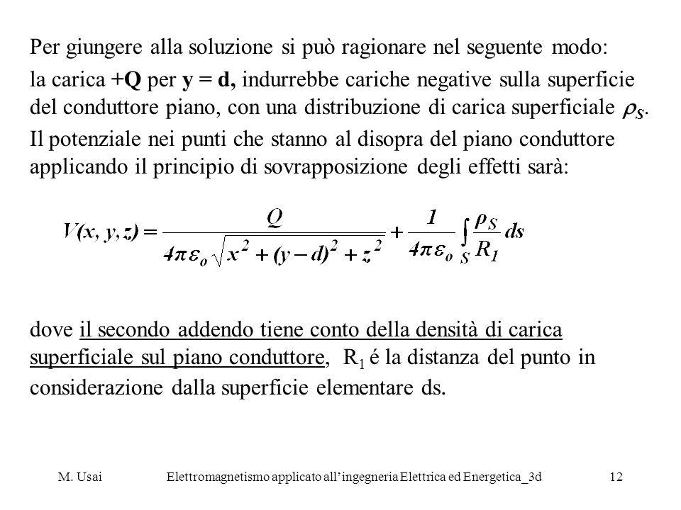 M. UsaiElettromagnetismo applicato allingegneria Elettrica ed Energetica_3d12 Per giungere alla soluzione si può ragionare nel seguente modo: la caric