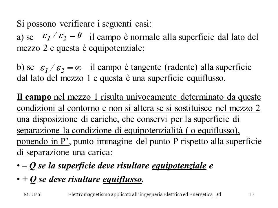 M. UsaiElettromagnetismo applicato allingegneria Elettrica ed Energetica_3d17 Si possono verificare i seguenti casi: a) se il campo è normale alla sup