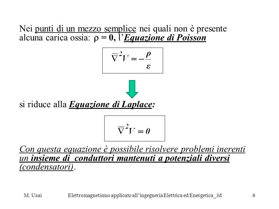 M. UsaiElettromagnetismo applicato allingegneria Elettrica ed Energetica_3d6 Nei punti di un mezzo semplice nei quali non è presente alcuna carica oss