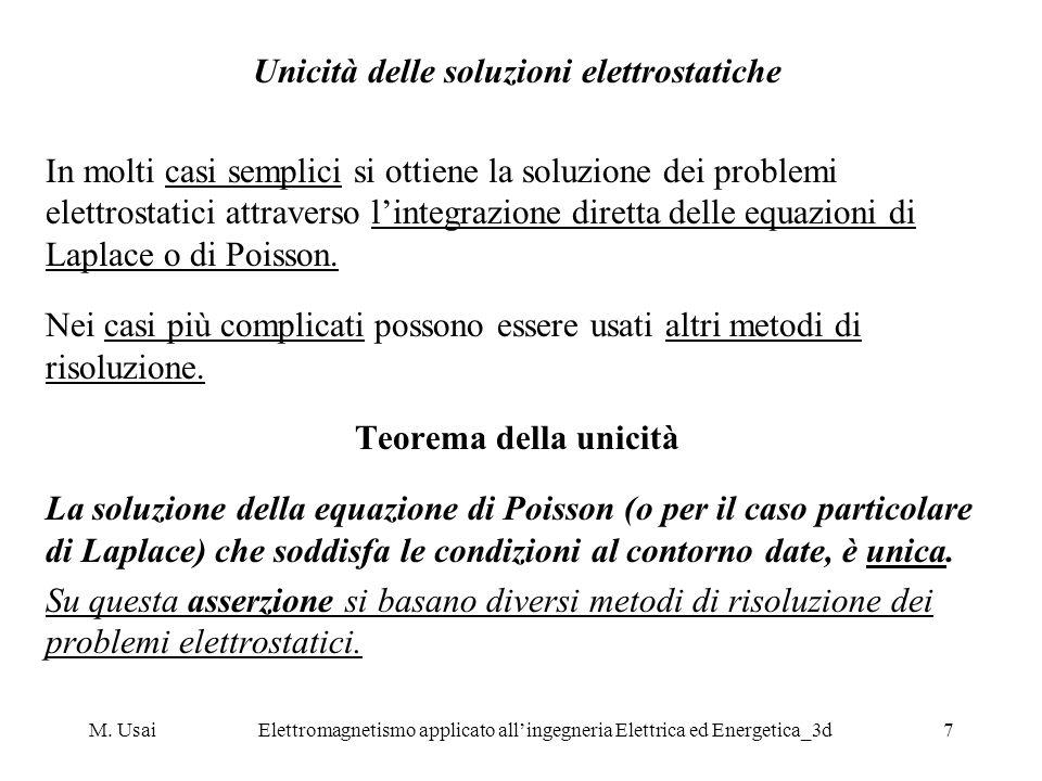 M. UsaiElettromagnetismo applicato allingegneria Elettrica ed Energetica_3d7 Unicità delle soluzioni elettrostatiche In molti casi semplici si ottiene