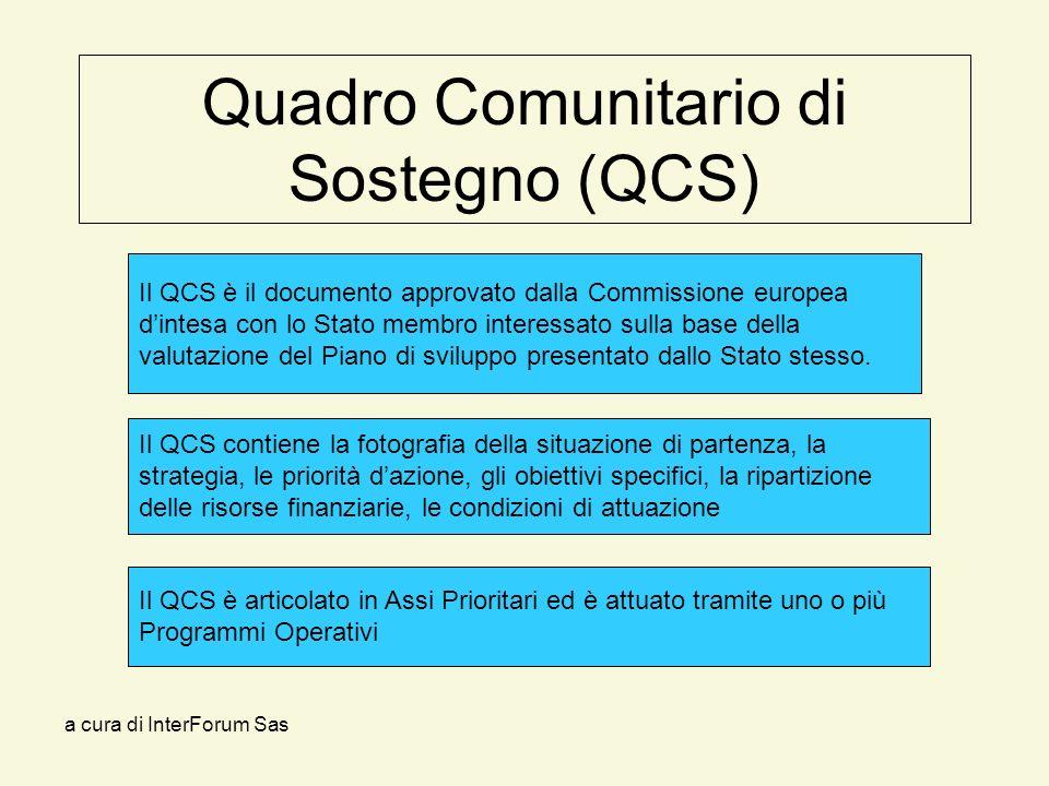a cura di InterForum Sas Quadro Comunitario di Sostegno (QCS) Il QCS contiene la fotografia della situazione di partenza, la strategia, le priorità dazione, gli obiettivi specifici, la ripartizione delle risorse finanziarie, le condizioni di attuazione Il QCS è il documento approvato dalla Commissione europea dintesa con lo Stato membro interessato sulla base della valutazione del Piano di sviluppo presentato dallo Stato stesso.