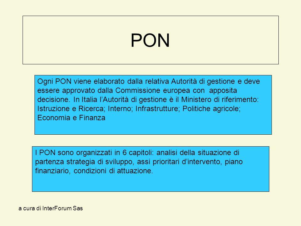 a cura di InterForum Sas PON Ogni PON viene elaborato dalla relativa Autorità di gestione e deve essere approvato dalla Commissione europea con apposita decisione.