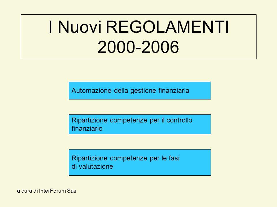 a cura di InterForum Sas I Nuovi REGOLAMENTI 2000-2006 Ripartizione competenze per il controllo finanziario Automazione della gestione finanziaria Ripartizione competenze per le fasi di valutazione