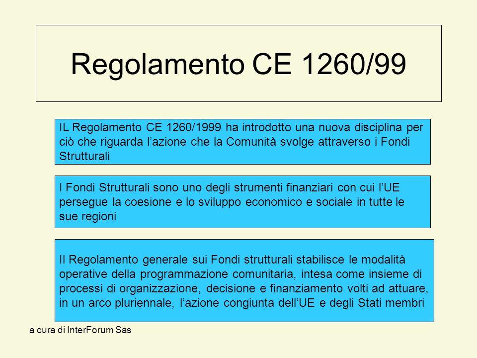a cura di InterForum Sas Regolamento CE 1260/99 IL Regolamento CE 1260/1999 ha introdotto una nuova disciplina per ciò che riguarda lazione che la Comunità svolge attraverso i Fondi Strutturali I Fondi Strutturali sono uno degli strumenti finanziari con cui lUE persegue la coesione e lo sviluppo economico e sociale in tutte le sue regioni Il Regolamento generale sui Fondi strutturali stabilisce le modalità operative della programmazione comunitaria, intesa come insieme di processi di organizzazione, decisione e finanziamento volti ad attuare, in un arco pluriennale, lazione congiunta dellUE e degli Stati membri