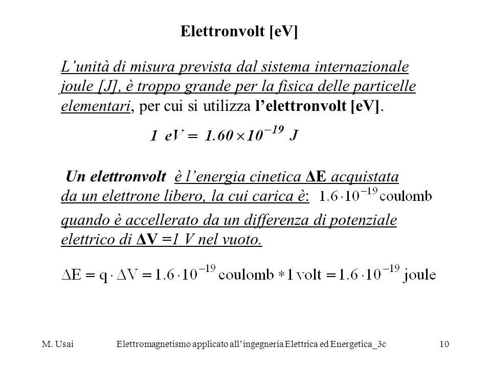 M. UsaiElettromagnetismo applicato allingegneria Elettrica ed Energetica_3c10 Elettronvolt [eV] Lunità di misura prevista dal sistema internazionale j