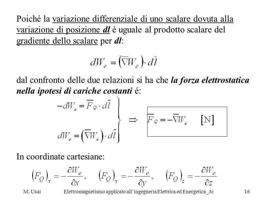 M. UsaiElettromagnetismo applicato allingegneria Elettrica ed Energetica_3c16 Poiché la variazione differenziale di uno scalare dovuta alla variazione