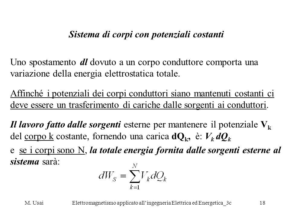M. UsaiElettromagnetismo applicato allingegneria Elettrica ed Energetica_3c18 Sistema di corpi con potenziali costanti Uno spostamento dl dovuto a un