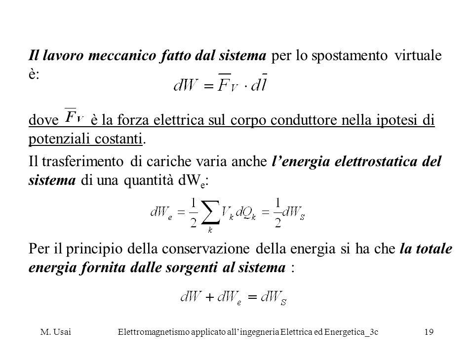 M. UsaiElettromagnetismo applicato allingegneria Elettrica ed Energetica_3c19 Il lavoro meccanico fatto dal sistema per lo spostamento virtuale è: dov