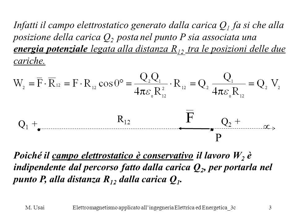 M. UsaiElettromagnetismo applicato allingegneria Elettrica ed Energetica_3c3 Infatti il campo elettrostatico generato dalla carica Q 1 fa si che alla