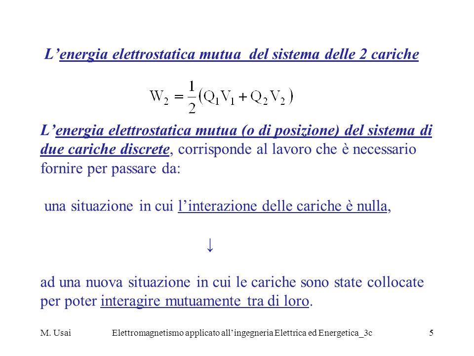 M. UsaiElettromagnetismo applicato allingegneria Elettrica ed Energetica_3c5 Lenergia elettrostatica mutua del sistema delle 2 cariche Lenergia elettr