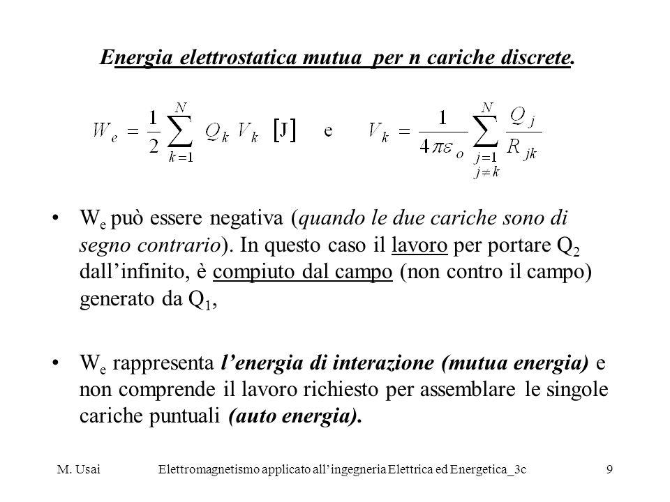 M. UsaiElettromagnetismo applicato allingegneria Elettrica ed Energetica_3c9 Energia elettrostatica mutua per n cariche discrete. W e può essere negat