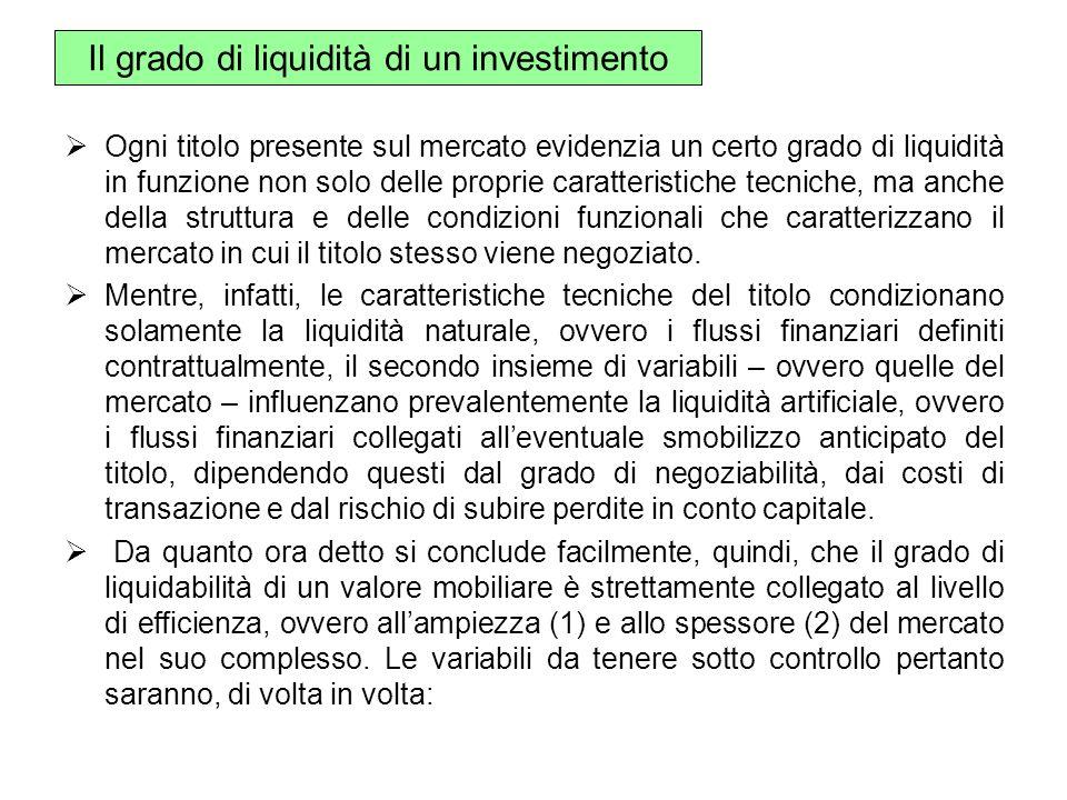 Il grado di liquidità di un investimento Ogni titolo presente sul mercato evidenzia un certo grado di liquidità in funzione non solo delle proprie car