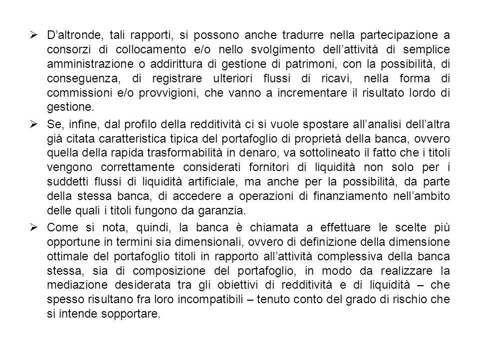Daltronde, tali rapporti, si possono anche tradurre nella partecipazione a consorzi di collocamento e/o nello svolgimento dellattività di semplice amm