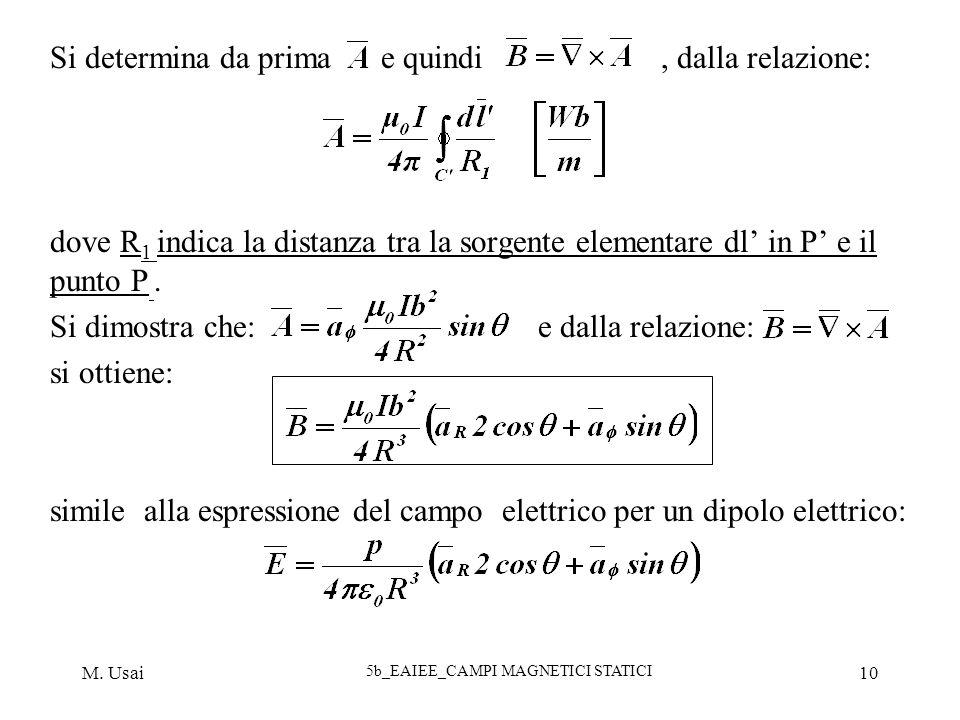 M. Usai 5b_EAIEE_CAMPI MAGNETICI STATICI 10 Si determina da prima e quindi, dalla relazione: dove R 1 indica la distanza tra la sorgente elementare dl