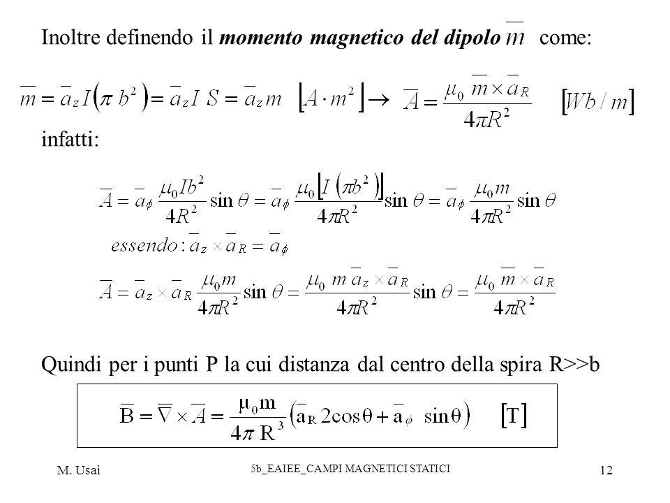 M. Usai 5b_EAIEE_CAMPI MAGNETICI STATICI 12 Inoltre definendo il momento magnetico del dipolo come: infatti: Quindi per i punti P la cui distanza dal